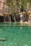 Hanging_Lake_215_04182017 - Portrait view of the colorful Hanging Lake fronting Bridal Veil Falls