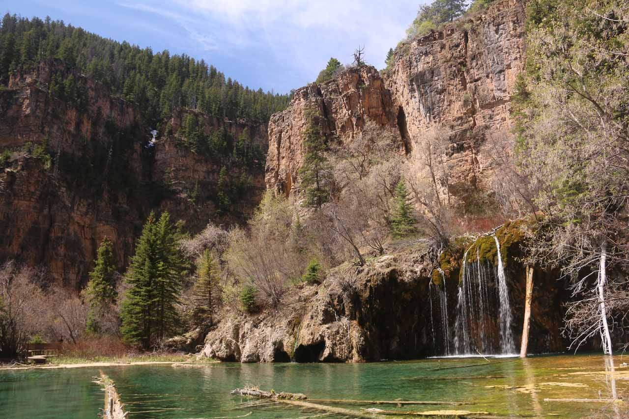 Looking back at Hanging Lake and the far end of Bridal Veil Falls from near the end of the boardwalk. As you can see, Hanging Lake's scenery was further augmented by tall cliffs surrounding the lake
