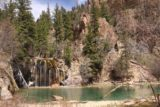 Hanging_Lake_364_04182017 - Last look at Hanging Lake and Bridal Veil Falls. Note the people to the far right of this picture for a sense of scale of the size of this waterfall
