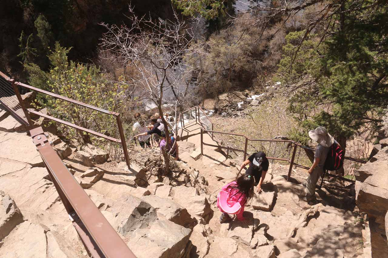 Julie and Tahia slowly descending the steep steps as we started the return hike down the Hanging Lake Trail