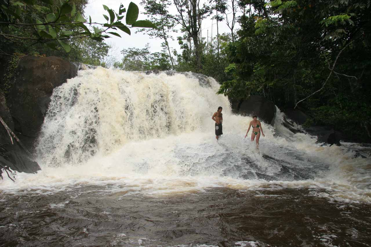 Couple enjoying themselves in the falls
