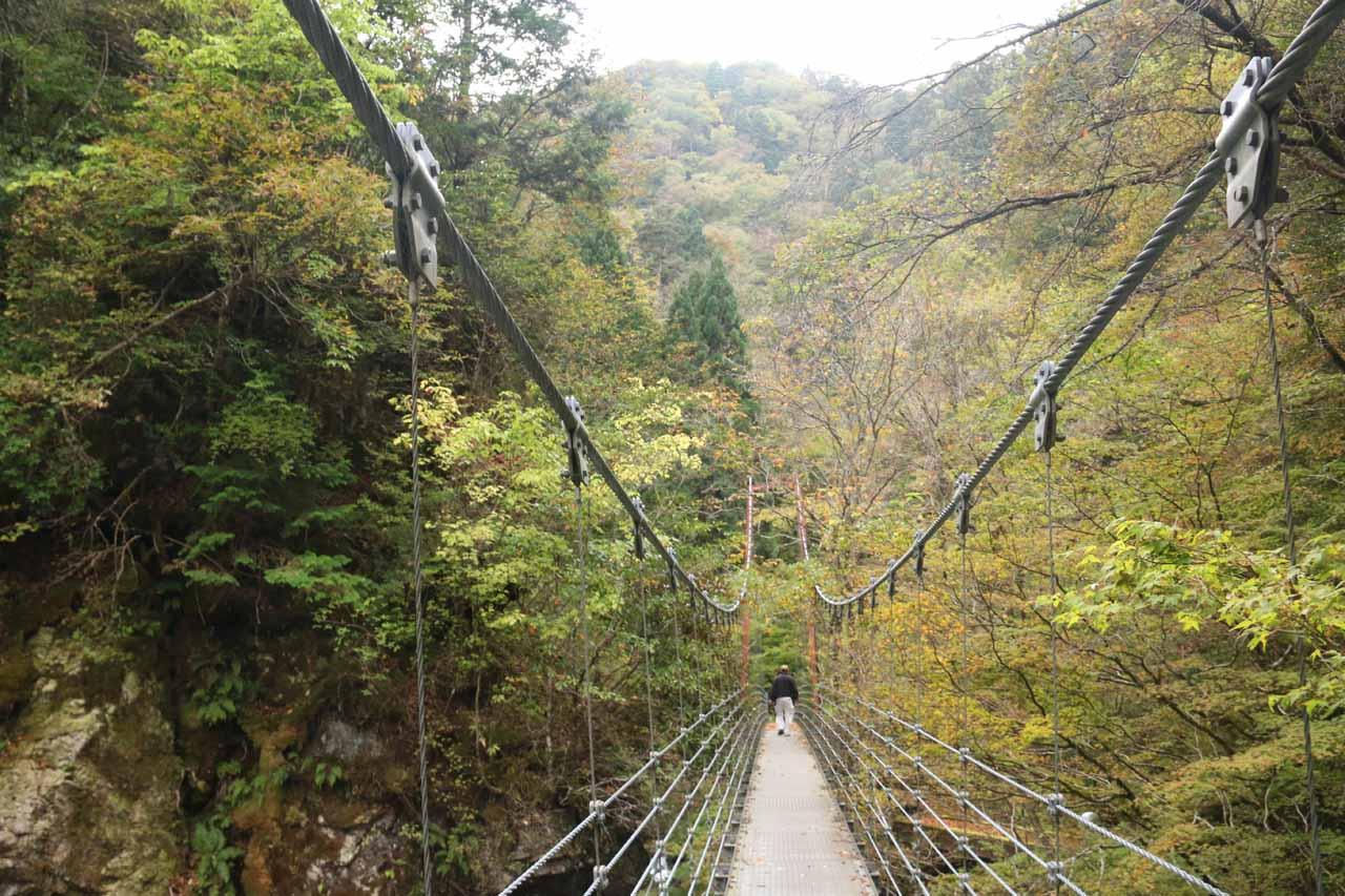On the impressive suspension bridge over Hachijogawa