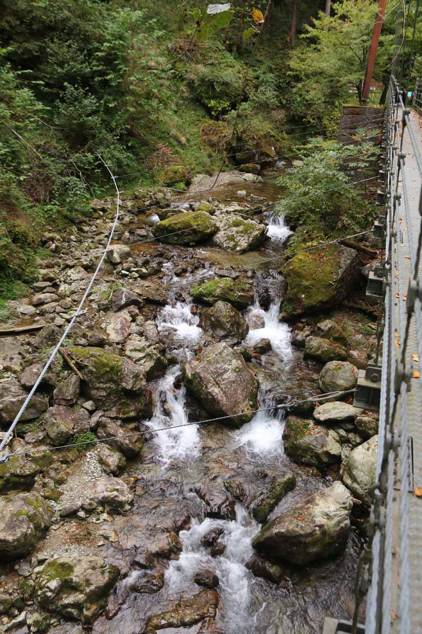 Looking down over some intermediate cascades from the suspension bridge