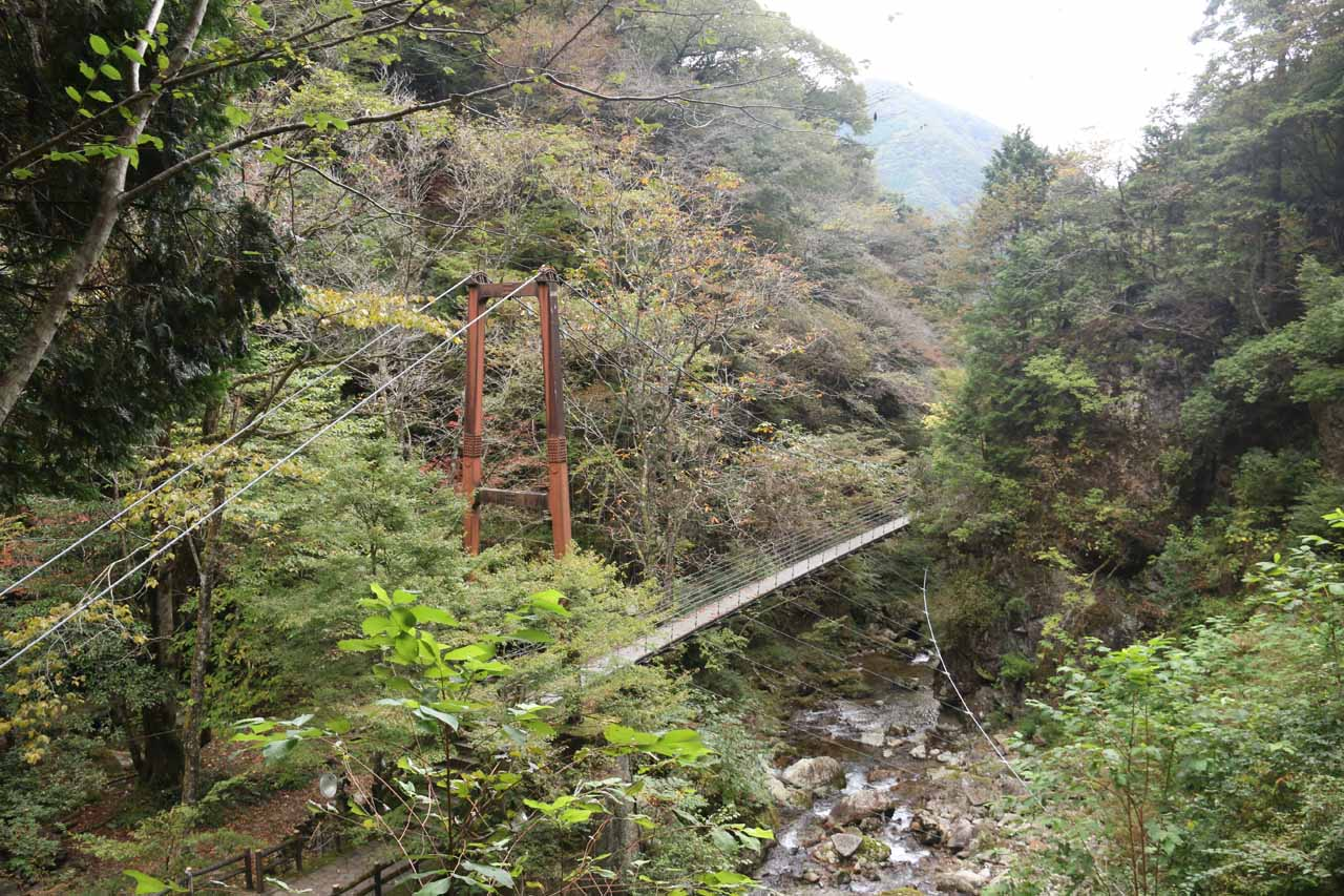 Looking back at the suspension bridge over Hachijogawa