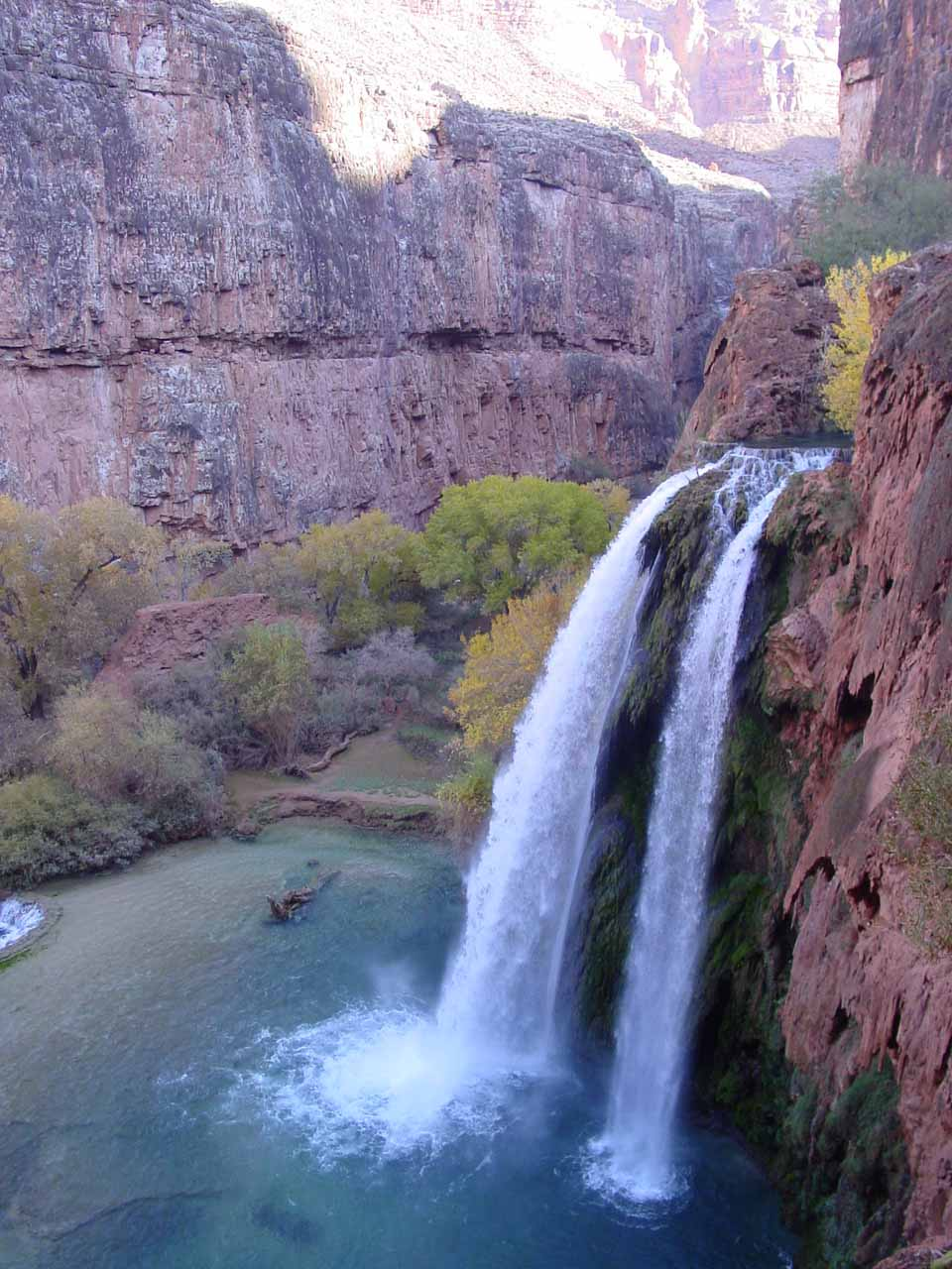 Angled view of Havasu Falls as we descended the trail