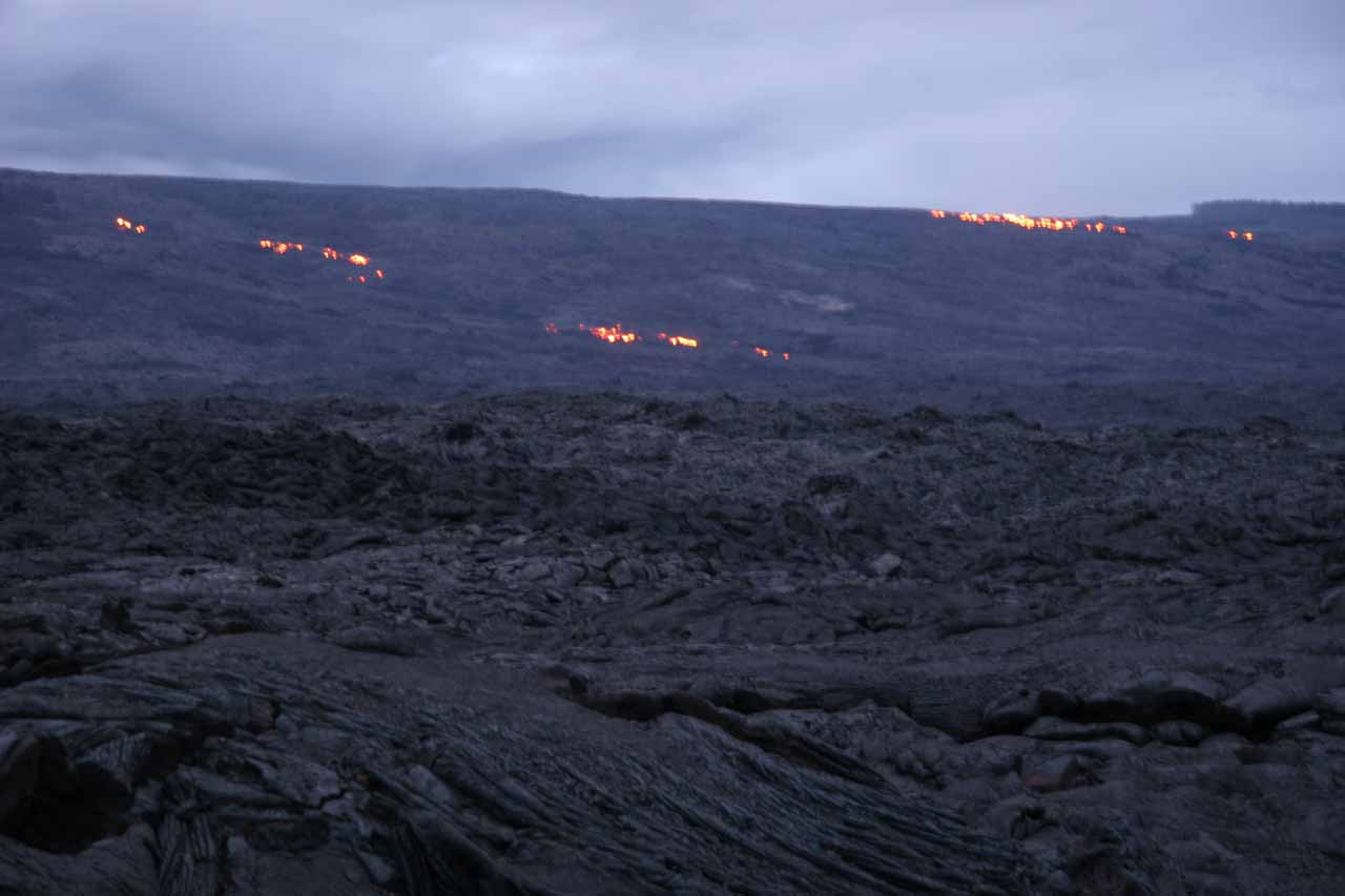 Earlier that day, we started to notice glowing lava further upslope from us.  It was surreal to see, and it was something Julie and I will always remember