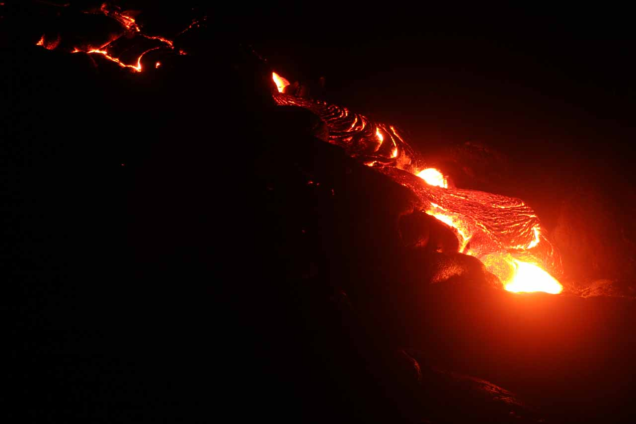 While we were staying in Hilo (where Rainbow Falls is located), we managed to go on a bit of an in-the-dark adventure to see a lava flow about an hour or so drive south at Hawaii Volcanoes National Park
