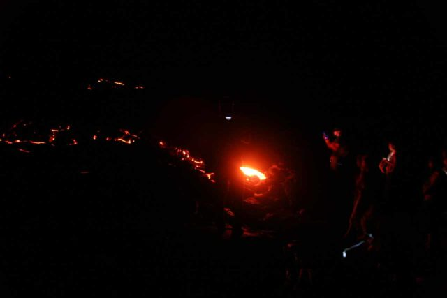 Hawaii_Volcanoes_NP_074_03102007 - While we're on the topic of volcanoes and flowing lava, we took it another level to get really close to flowing lava but that required hiking in the dark on the slippery lava surfaces of past flows