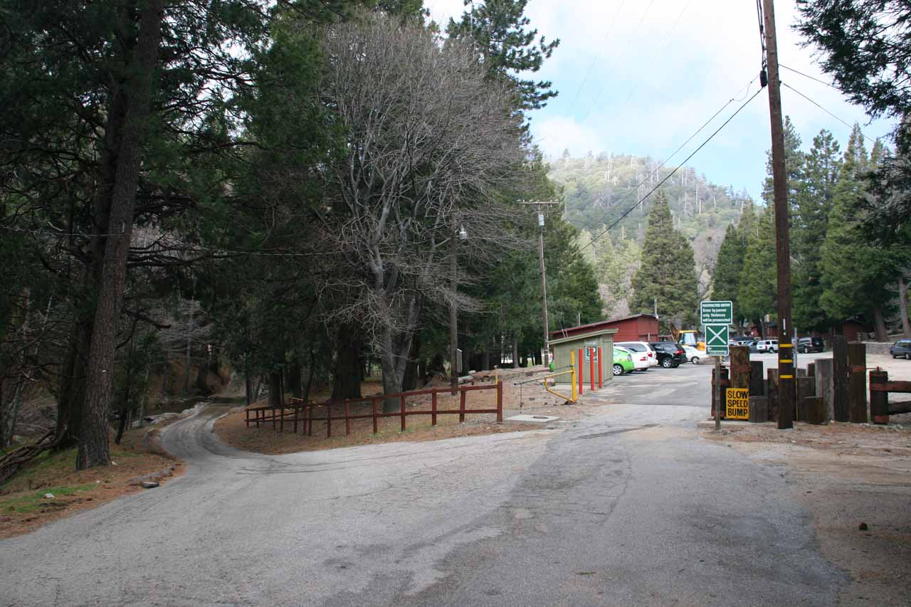 Camp Seeley and the concrete ford on the narrow road to the left