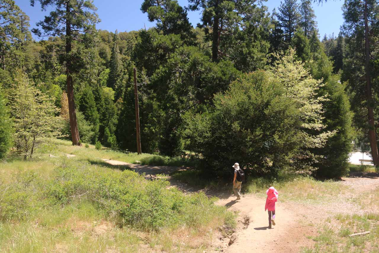 Julie and Tahia descending from the official Heart Rock Trailhead towards the Heart Rock Trail itself. Notice the bright area on the right, which was the dry swimming pool within Camp Seeley