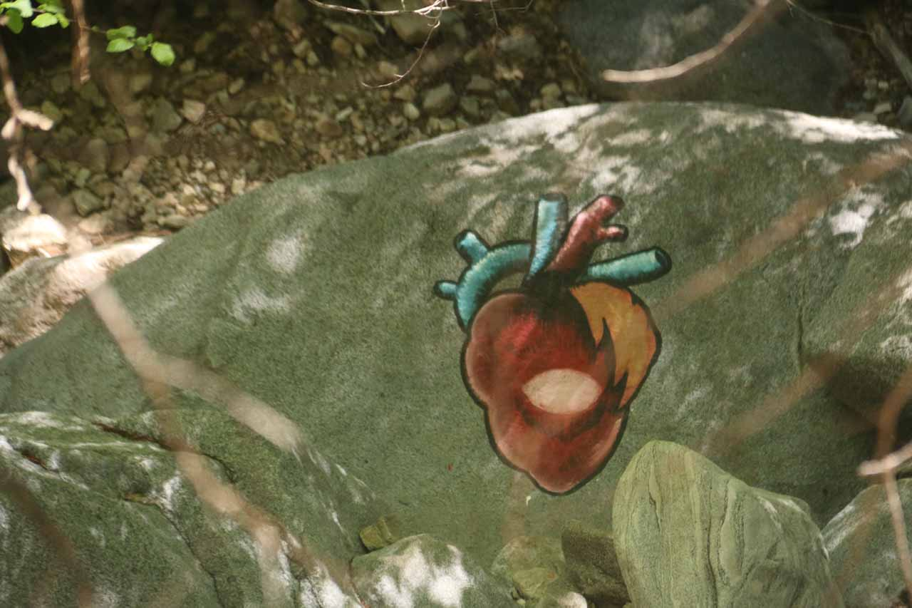 Over the years, we've noticed more unsightly graffiti on the Heart Rock Trail. This was actually one of the better ones though this was by no means the actual Heart Rock
