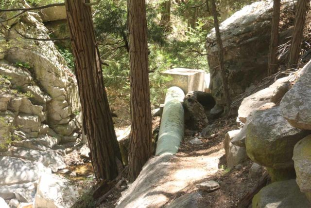 Heart_Rock_Falls_17_132_05202017 - Sewer pipelines probably coming from Camp Seeley and the rest of the Valley of Enchantment paralleling Seeley Creek and the Heart Rock Trail