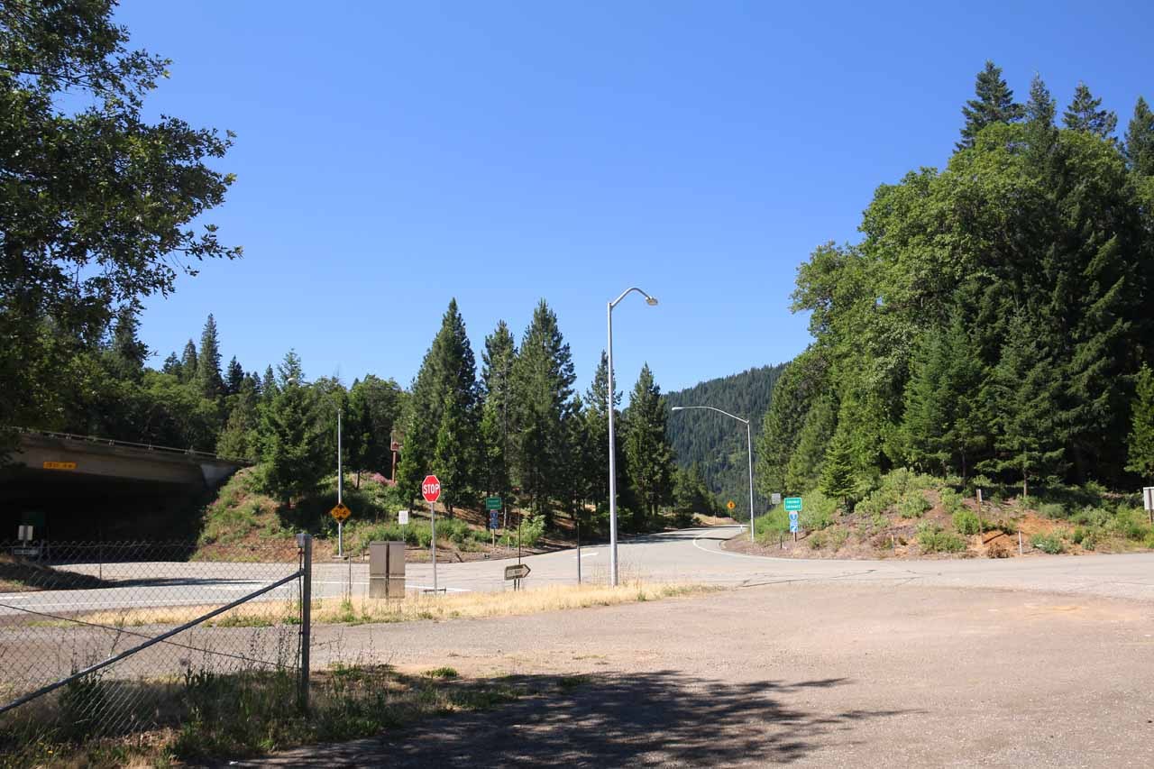 Looking back towards the I-5 freeway showing just how close the Hedge Creek Falls trailhead parking was to the interstate