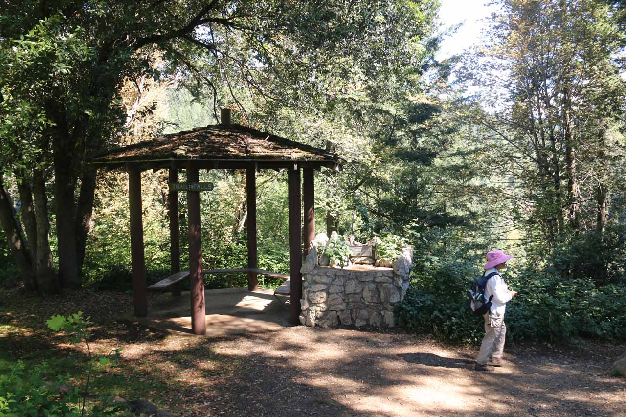 This was the Lion's Club gazeebo that we noticed just as the trail veered to the right and descended into the ravine formed by Hedge Creek