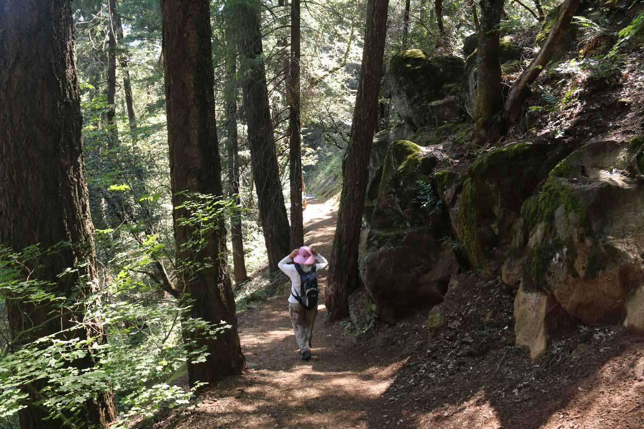 Mom descending alongside some interesting rocks along the trail