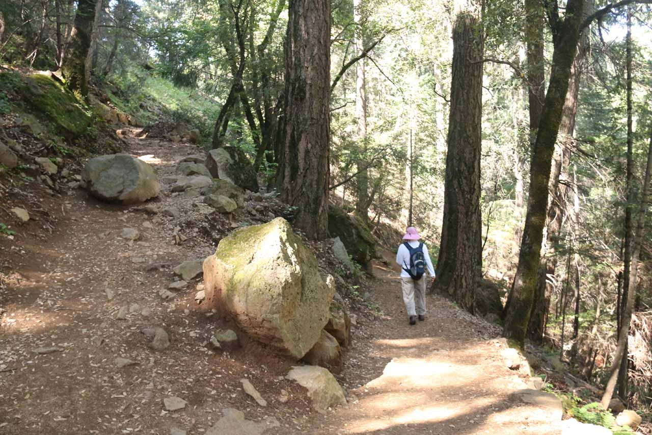 Mom rounding one of two switchbacks on the short trail to Hedge Creek Falls
