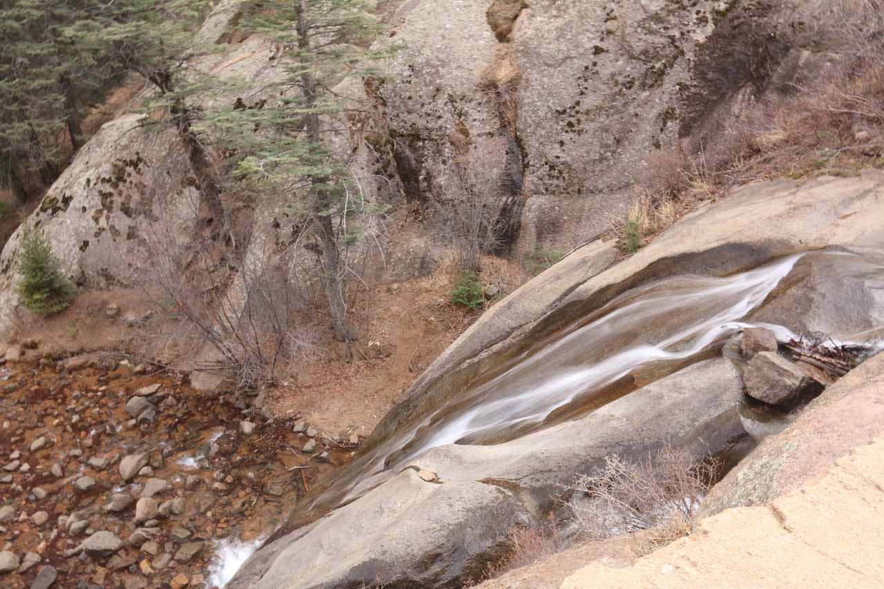 Looking down over the top of Helen Hunt Falls before reaching the bridge