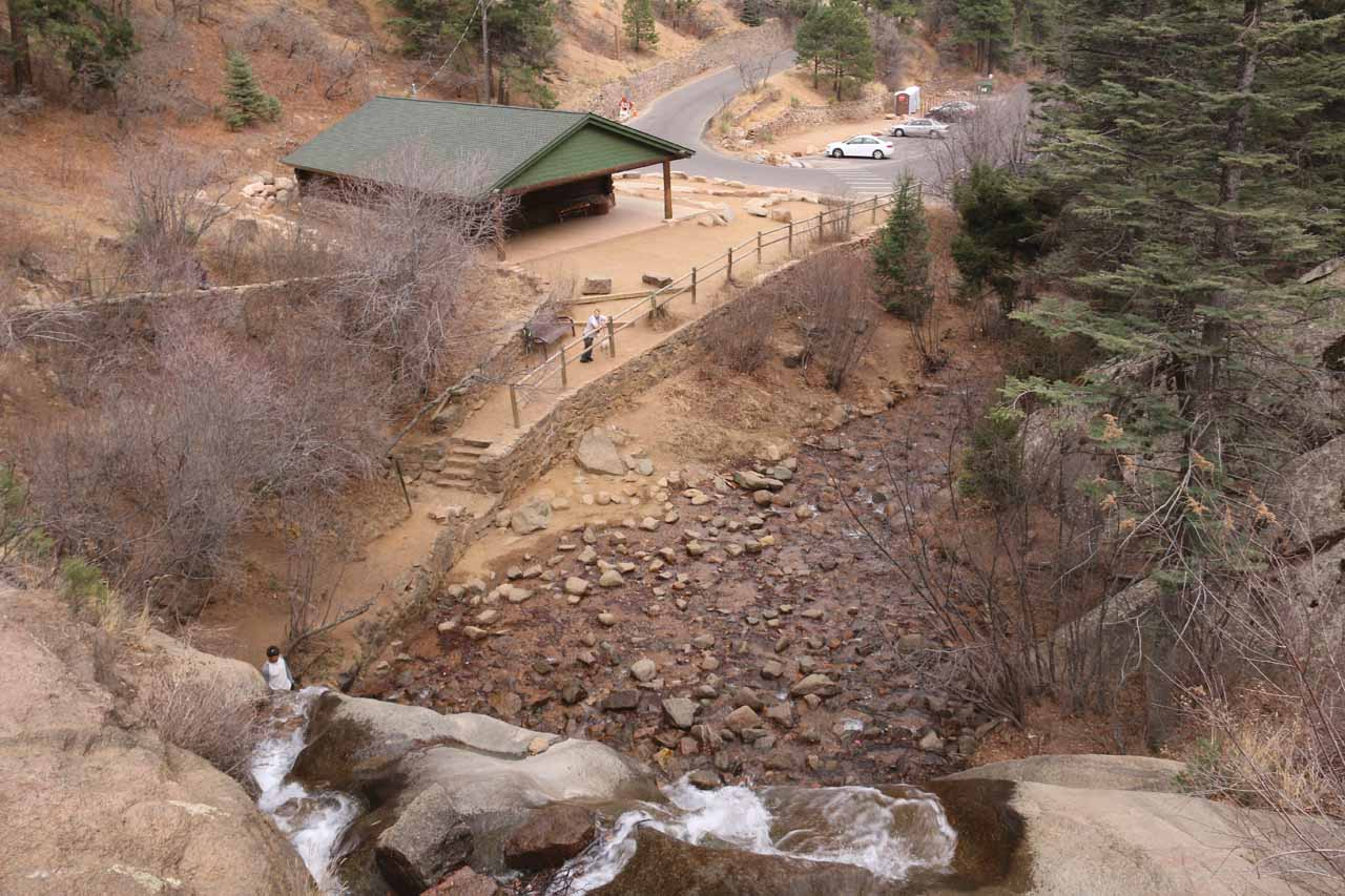 Looking down over the top of Helen Hunt Falls towards the visitor center and parking lot