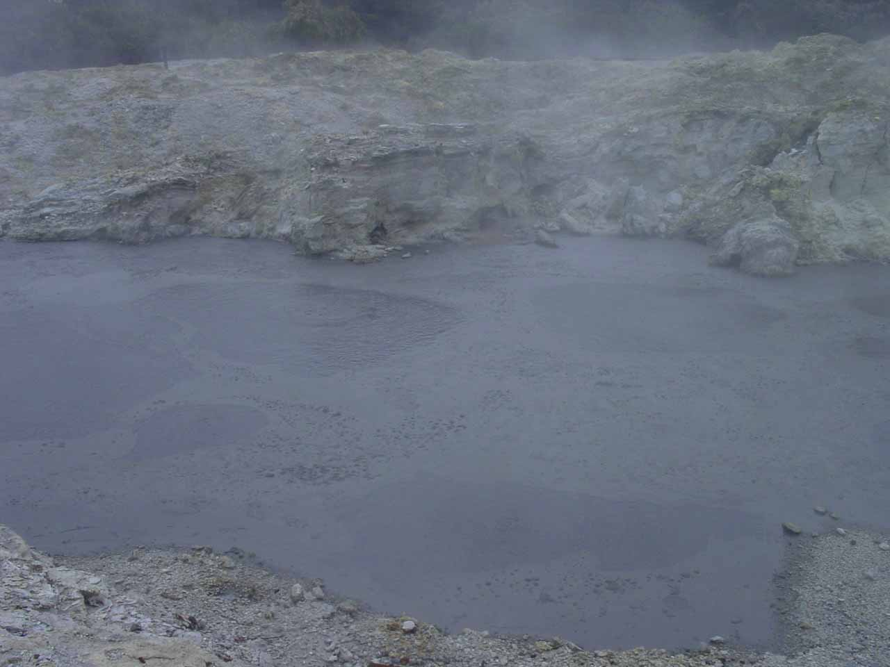 This was a dark and really smelly mud pool that was boiling with bubbles splattering the mud