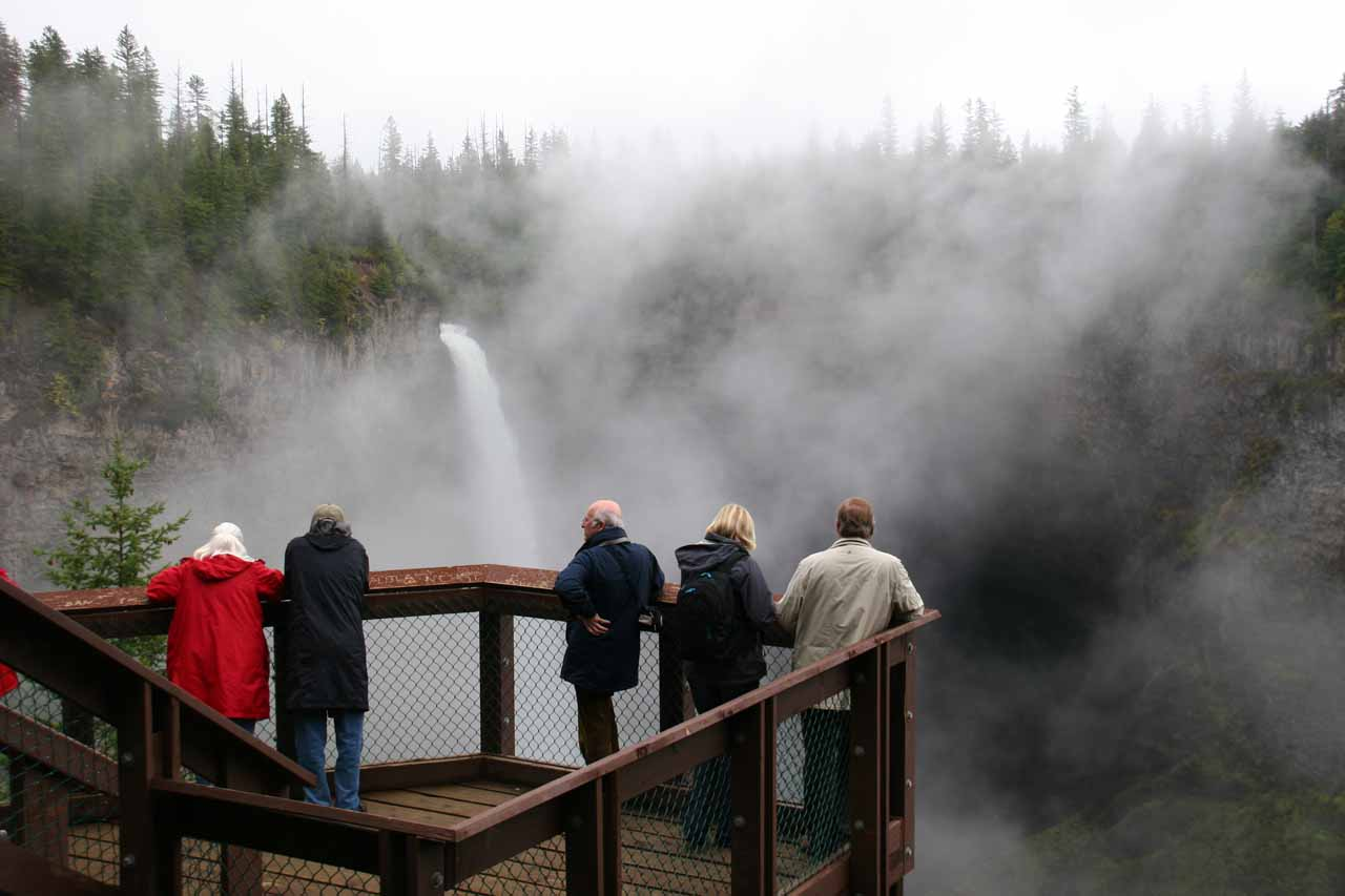People checking out Helmcken Falls as the fog was clearing