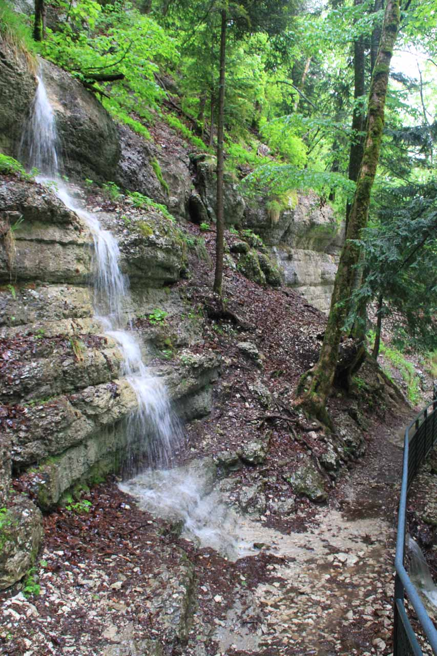 Some small cascades crossing the trail leading to the brink of Grand Saut