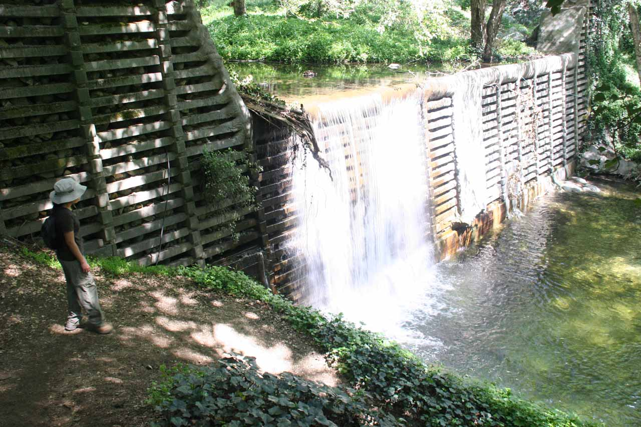 Man-modified waterfall near stream crossing