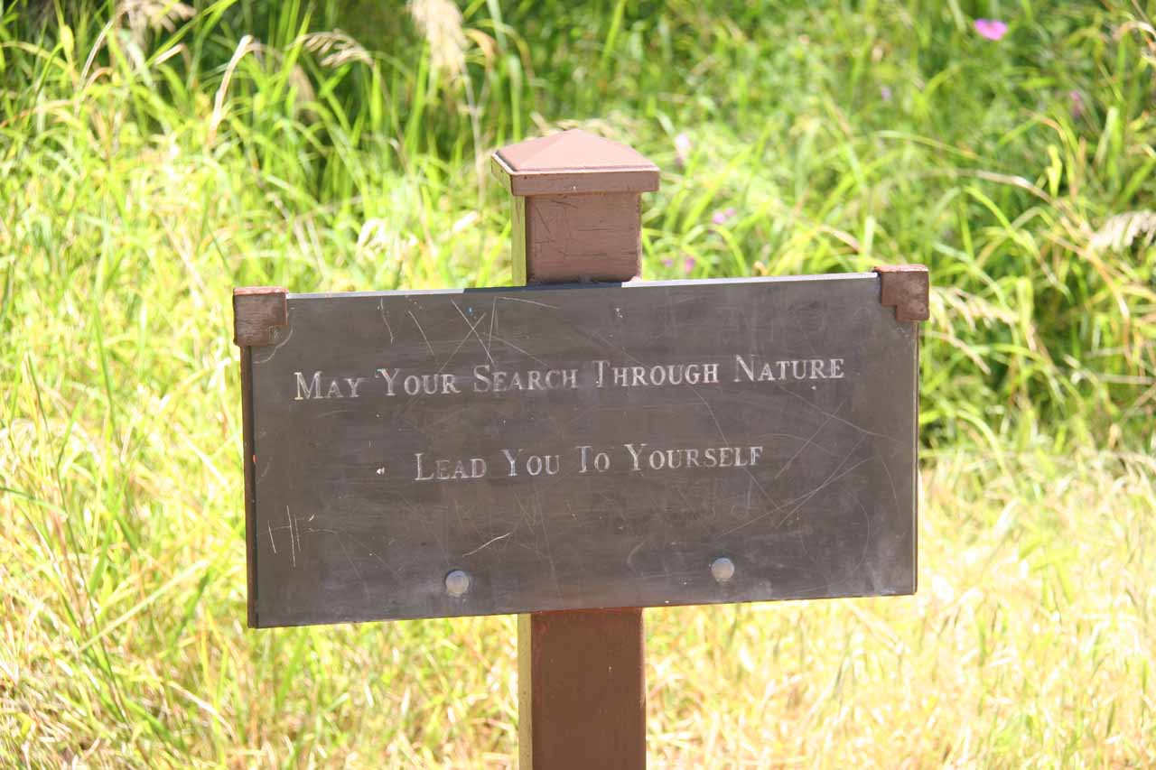 Look for the trail junction not far from this wise sign