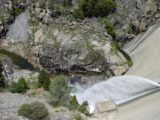 Hetch_Hetchy_002_05312002 - Looking down at some water being released from the O'Shaughnessy Dam during our visit at the end of May 2002