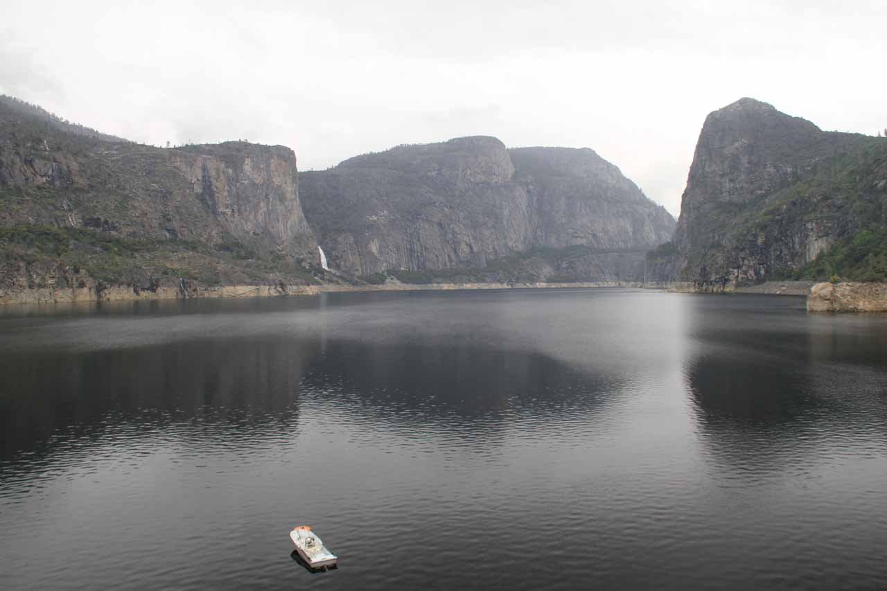 The panorama from the dam during an unusually dreary June weekend