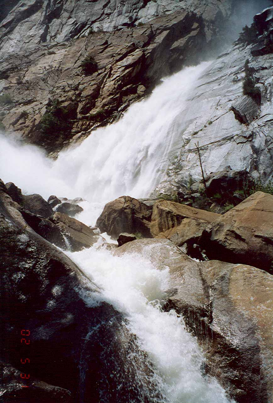 Looking up at part of Wapama Falls in high flow