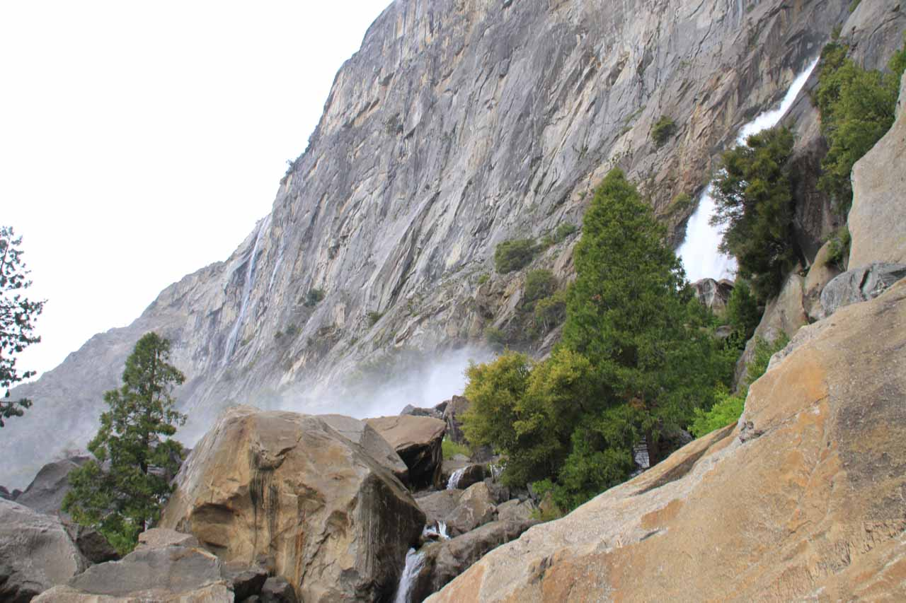 Looking back at the footbridges and both waterfalls under more average conditions