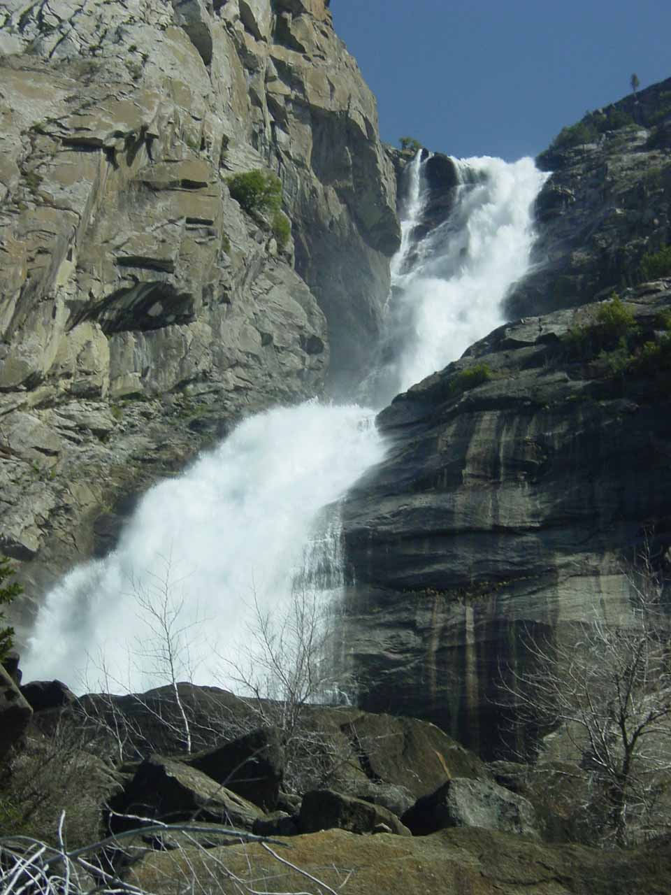 Looking up towards the top of Wapama Falls in high flow in early June 2002