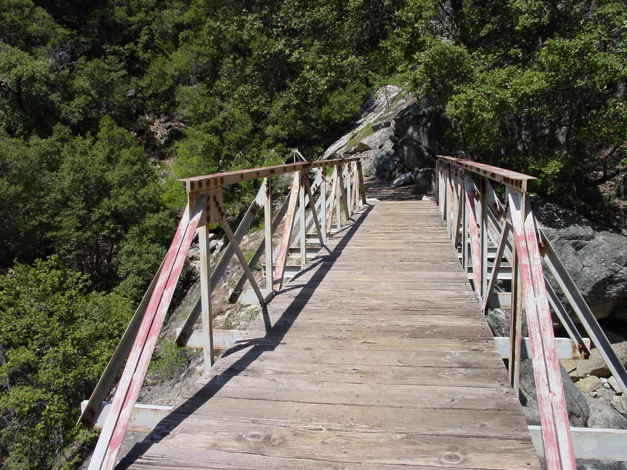 Crossing over the footbridges traversing Tilltill Creek