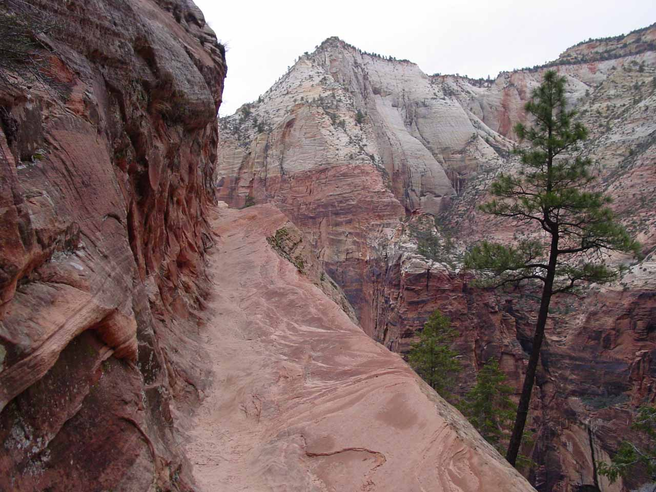 Hiking on the exposed part of the Hidden Canyon Trail near Weeping Rock