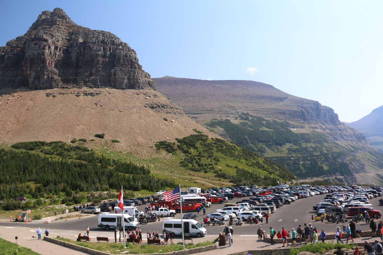 At the very busy Logan Pass Visitor Center and parking lot (which was hopelessly crowded and way too stressful to score a parking spot)