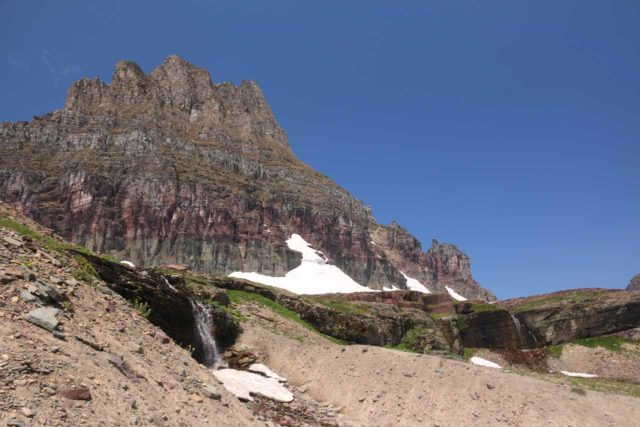 Hidden_Lake_106_08062017 - Looking towards a pair of 'Hidden Lake Cascades' from near the apex of the climbing trail to the Hidden Lake Overlook
