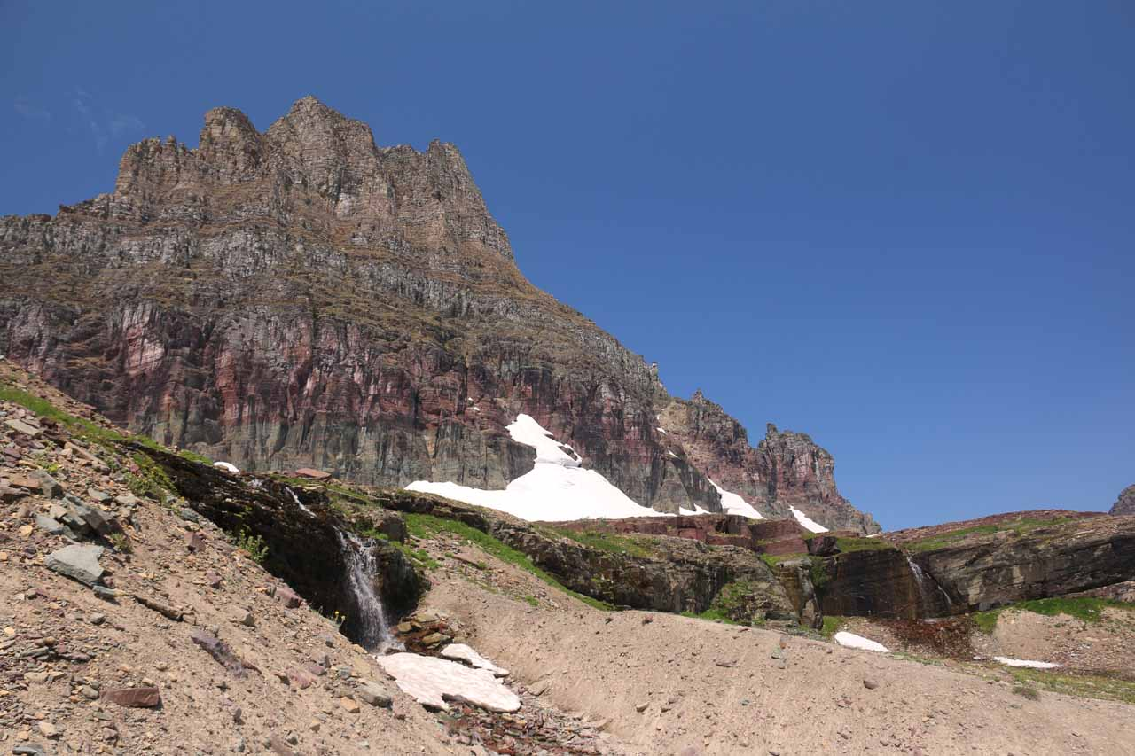 Looking across some of the cascades tumbling before the foot of Clements Mountain