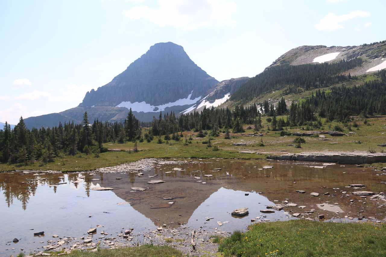 Looking in the other direction, there was a calm alpine tarn reflecting some of the mountains to the south of the Hidden Lake Trail