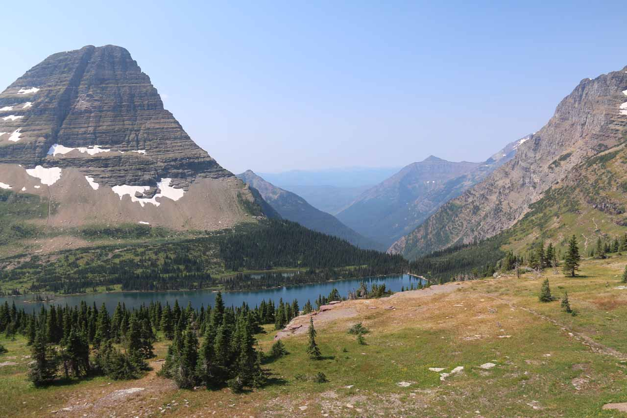 Looking towards the northern half of Hidden Lake with Bearhat Mountain towering from the left with Mt Brown, Mt Stanton, and Mt Cannon looming to the right