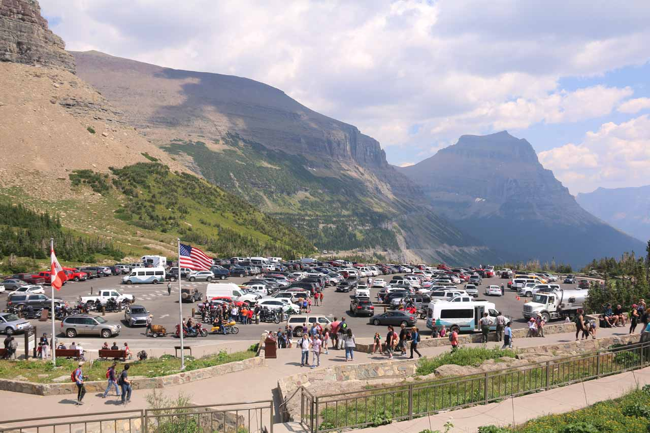Just to give you an idea of how chaotic it can get in peak season, this was the crowded Logan Pass in the early afternoon