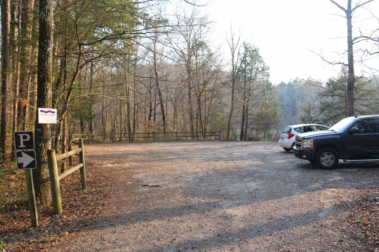 The car park for the High Banks Canoe Launch
