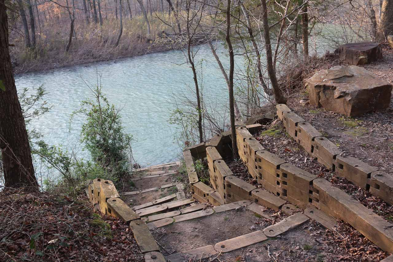 At the canoe launch, we saw this set of steps leading right to the banks of the Mulberry River, which I'd imagine kayakers and canoers would use to put into the river (or come out from)