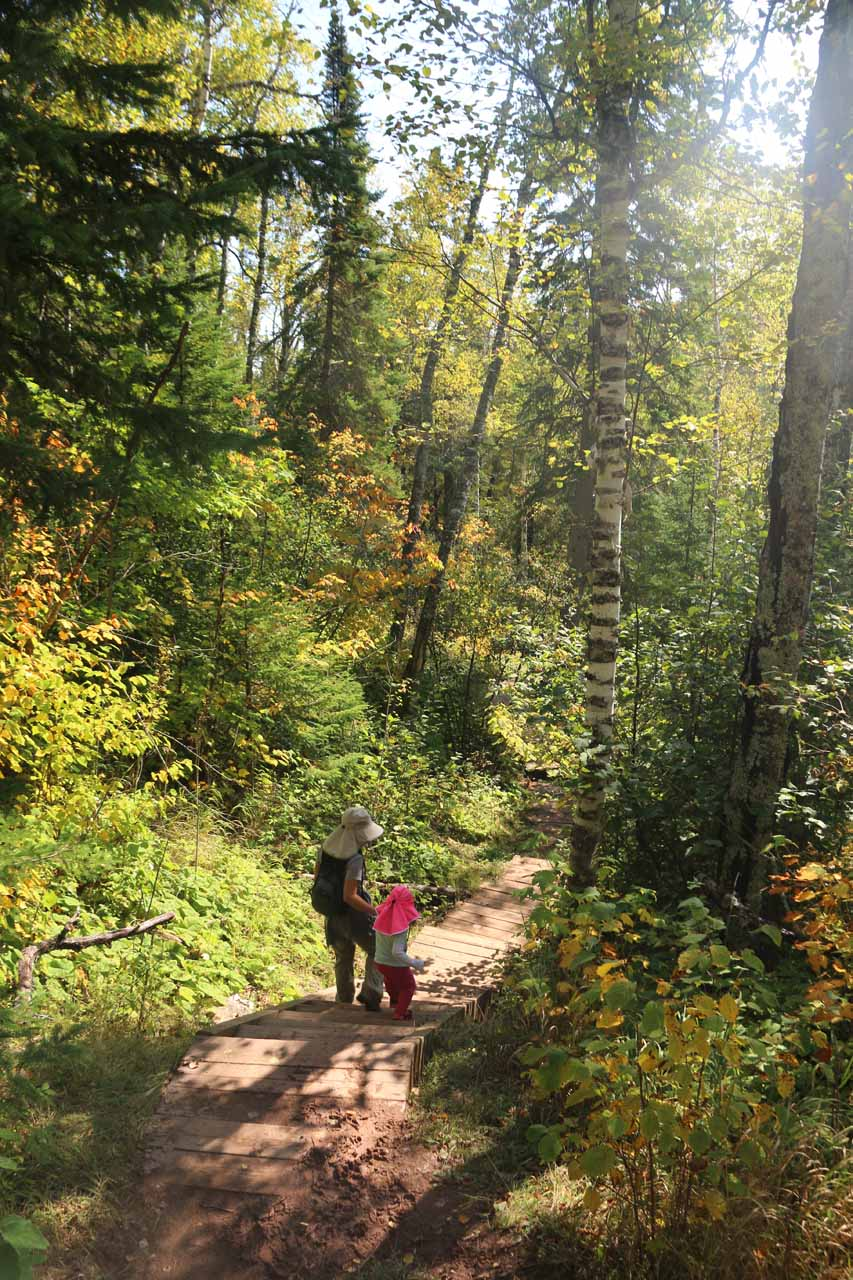 Julie and Tahia descending steps as we were entering the gorge