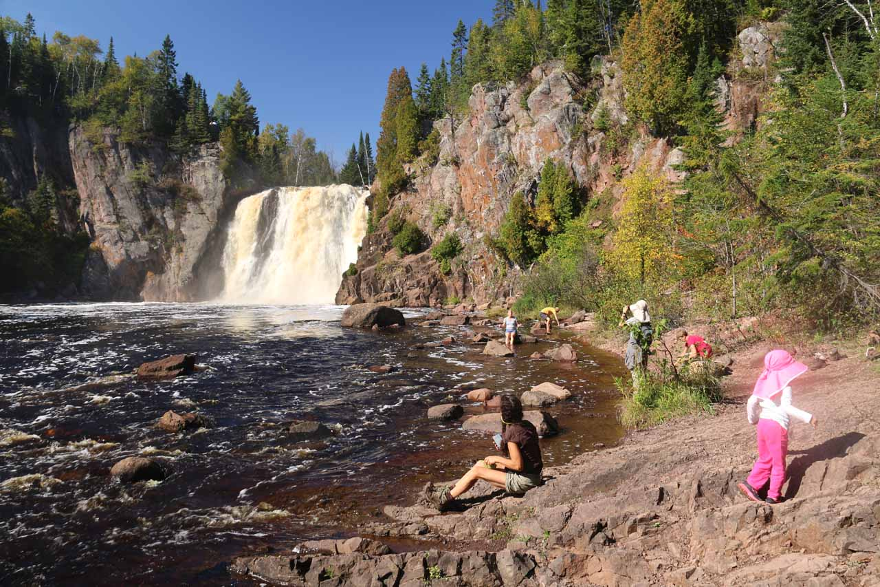 Tahia having fun at the High Falls of the Baptism River