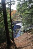 High_Falls_Chateaugay_007_10102013 - Partial look at the uppermost tiers of High Falls showing it was partially man-modified.  This was seen after making a right at the fork in the trail, which was the wrong way to the base of the falls