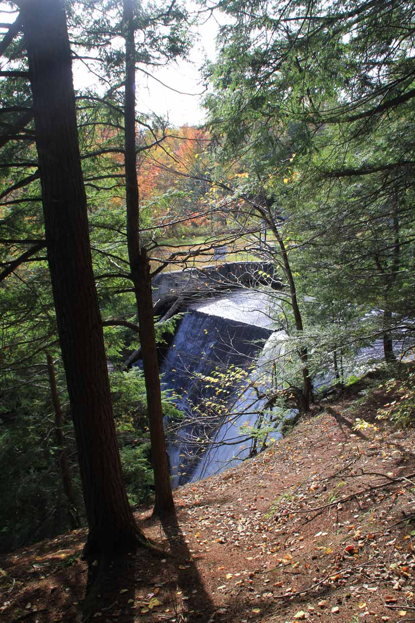 Partial look at the uppermost tiers of High Falls showing it was partially man-modified.  This was seen after making a right at the fork in the trail, which was the wrong way to the base of the falls