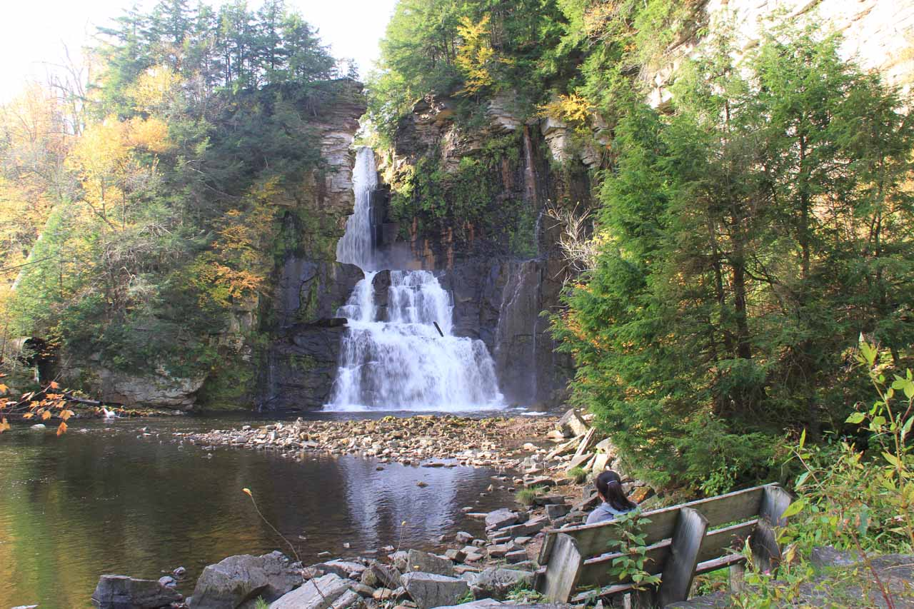 At the base of High Falls where Julie and Tahia chilled out on the bench with the view