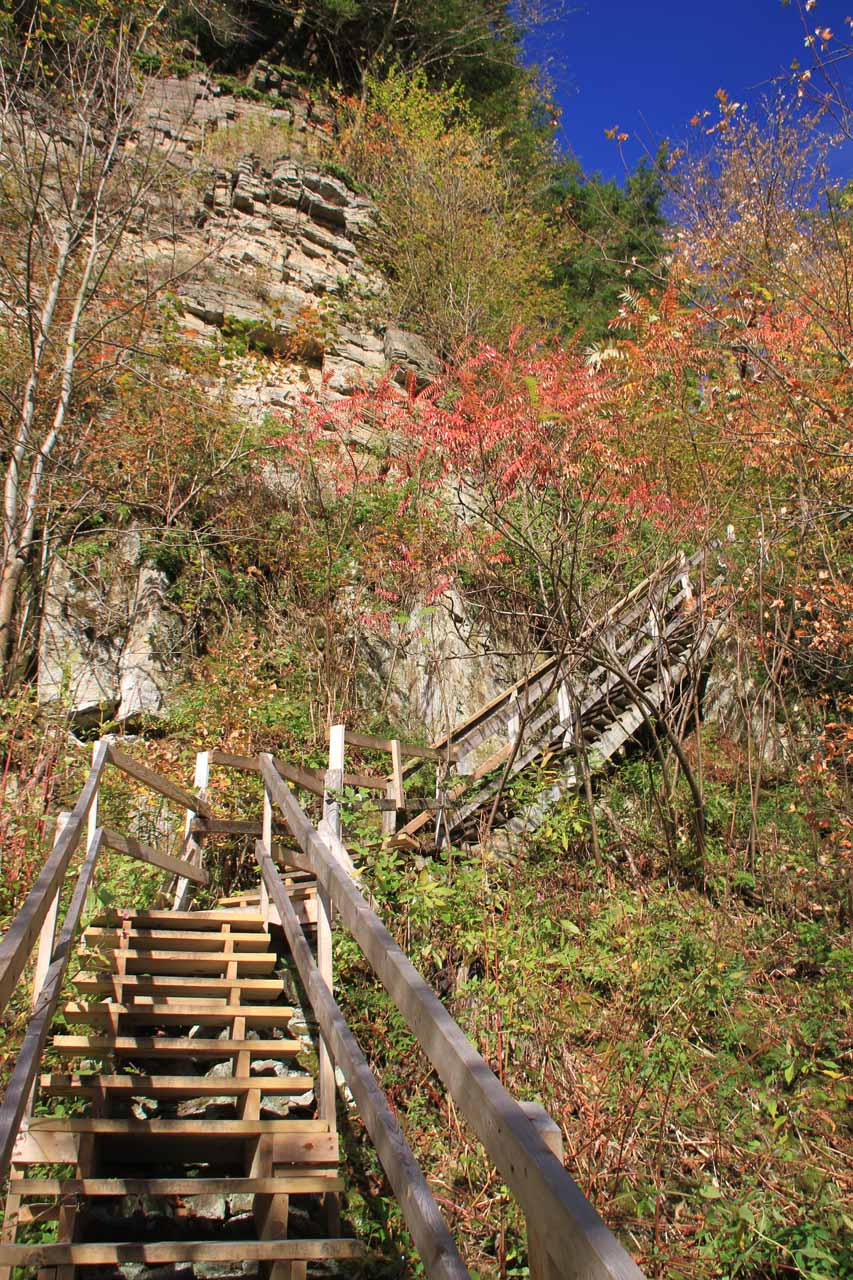 Time to climb back up the stairs leading up to the top of the gorge
