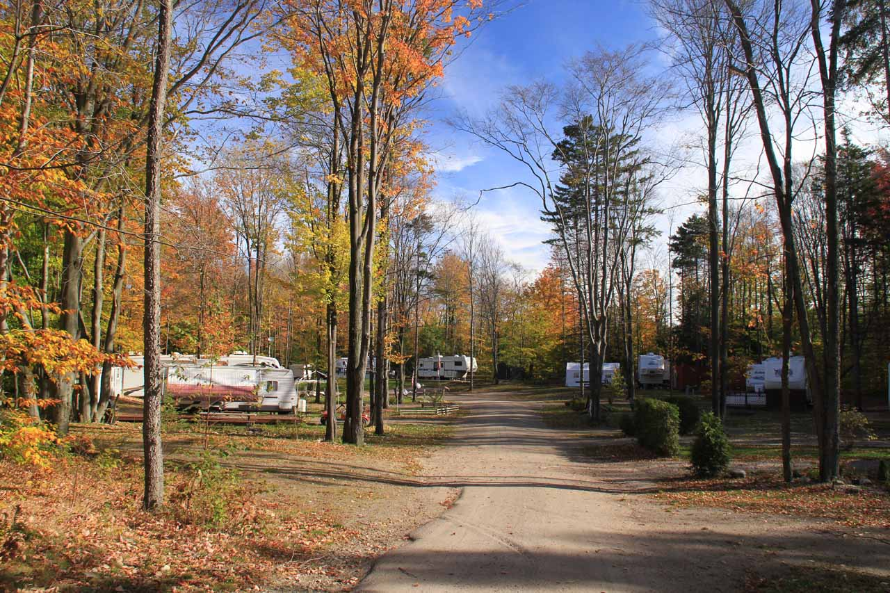Passing through the RV Park at High Falls Park