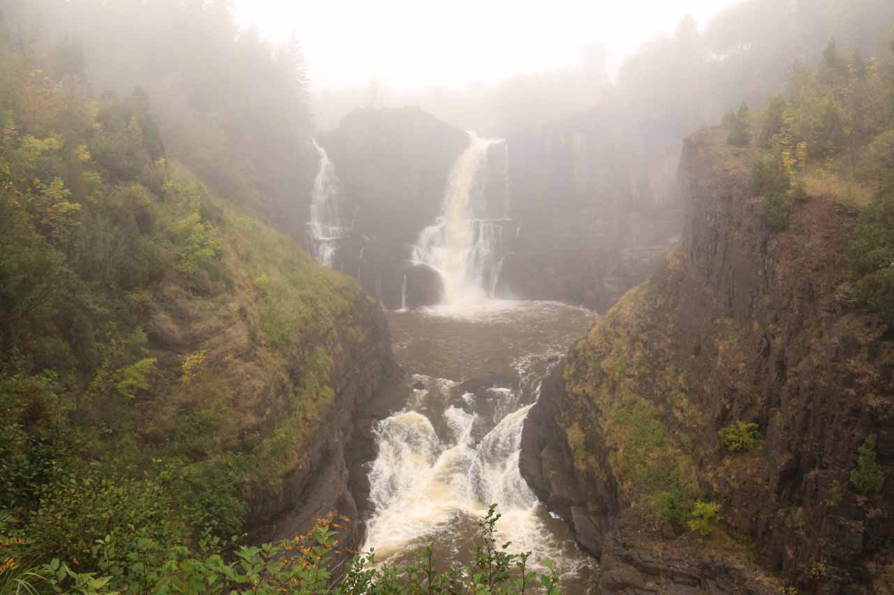 First look through the fog at High Falls of the Pigeon River from the American side